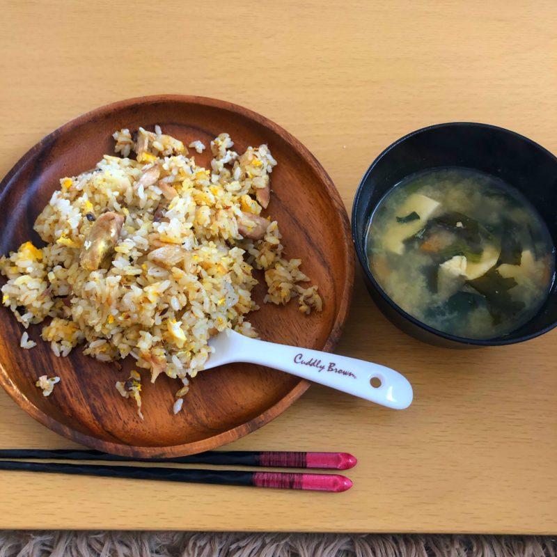 鯖チャーハンとお味噌汁